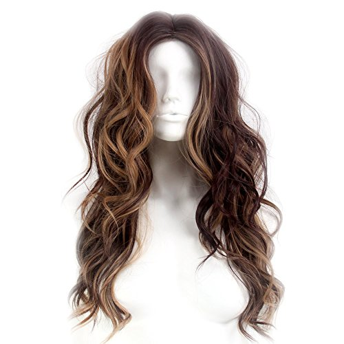 Stfantasy Wigs for Women Cosplay Costume Long Curly Wavy Synthetic Fluffy Peluca 25 Inch 240g w/ free Wig Cap and Clips, Light Brown