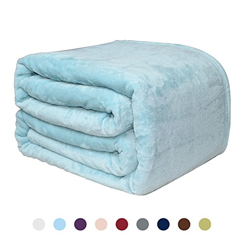 Price comparison product image Flannel Fleece Blanket - Bed or Couch Throw by NEWSHONE(90inX90in, Light Blue)