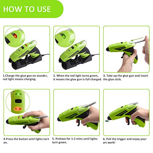HAWKFORCE Glue Gun Kit 4V 1 Min Quick Pre-Heating Cordless Crafts Glue Gun with 60 PCS Colorful Glue Sticks and Stander, Mini Melt Glue Gun for Home Quick Repair, DIY, Crafts