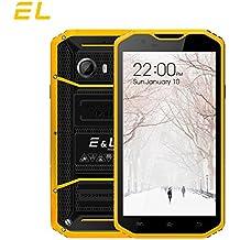 EL W8 4G LTE Rugged Smartphone Unlocked IP68 Wateproof Dustproof Shockproof 5.5 Inch 16GB/2GB Android 6.0 Camera 8.0MP Unlocked Military Grade GSM Cellphone (Yellow)