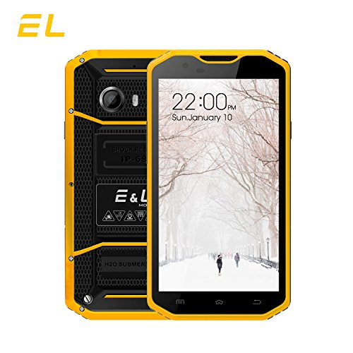 EL W8 4G LTE Rugged Smartphone Unlocked IP68 Wateproof Dustproof Shockproof 5.5 Inch 16GB/2GB Android 6.0 Camera 8.0MP Unlocked Military Grade GSM Cellphone (Yellow) (Pda Phone Wifi Cellular Gsm)