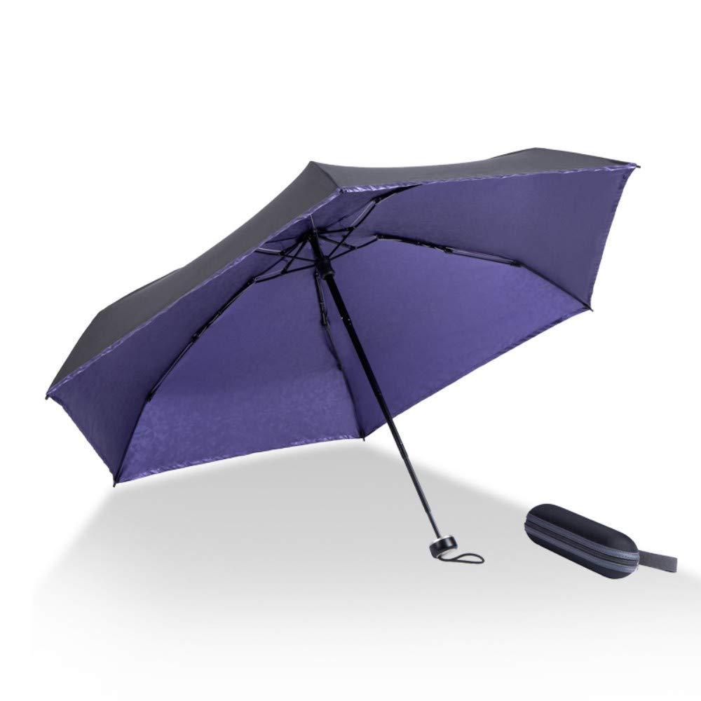 Violet à l'intérieur Mumozzz Simple écran Solaire de Couleur Unie Prougeection UV Ultra léger Petit Parapluie Pliant, extérieur, Bleu