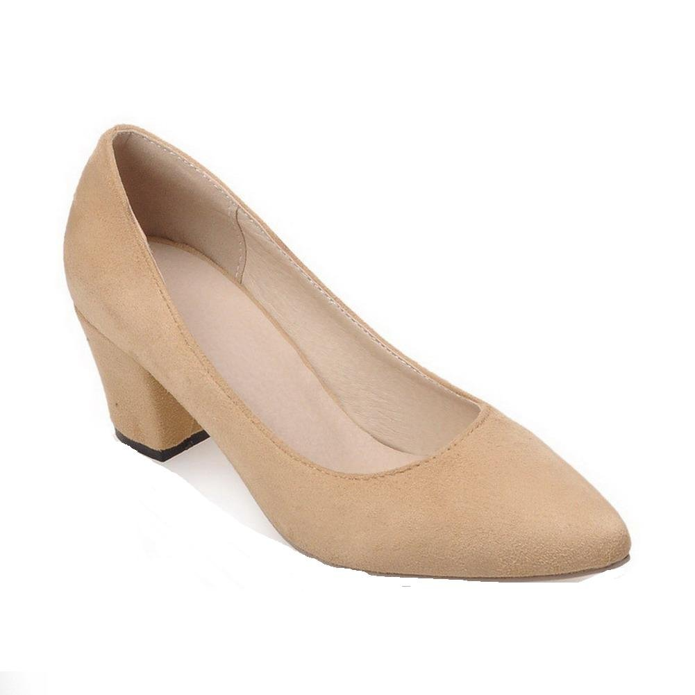 WeiPoot Women's Pointed Closed Toe Kitten-Heels Frosted Solid Pull-on Pumps-Shoes, Beige, 41 by WeiPoot