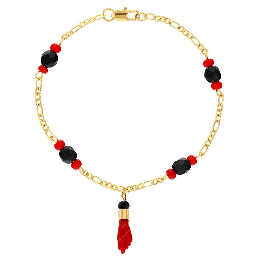 In Season Jewelry 18k Gold Plated Evil Eye Protection Red Figa Hand Amulet Good Luck Bracelet 7.5''