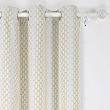 Deconovo Grommet Top Gradual Change Moroccan Print Thermal Insulated Bedroom Window Blackout Curtain 42 x 84 Inch Yellow One Panel