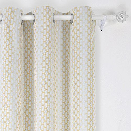 Deconovo Grommet Top Gradual Change Moroccan Print Thermal Insulated Bedroom Window Blackout Curtain 42×84 Inch Yellow One Panel