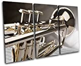 Bold Bloc Design - Trumpet INSTRUMENTS Musical 90x60cm TREBLE Canvas Art Print Box Framed Picture Wall Hanging - Hand Made In The UK - Framed And Ready To Hang
