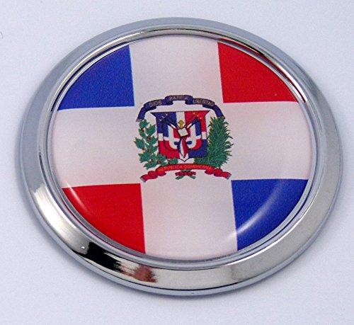 Dominican Republic Round Flag Car Chrome Decal Emblem bumper Sticker bezel badge