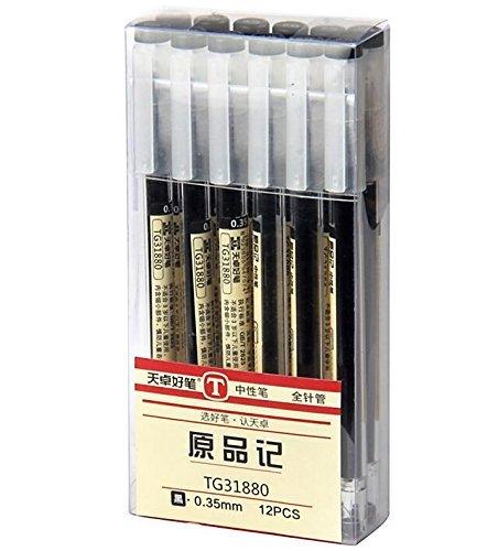 Gel Ink Pen Japanese Style Liquid 0.35mm Ultra Fine Ballpoint Maker Pen for Office School Stationery Supply,12 Pcs/Set, Black