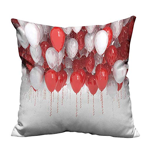 YouXianHome Zippered Pillow Covers Red and White Party Balloons Isolated on White Background Decorative Couch(Double-Sided Printing) 27.5x27.5 inch