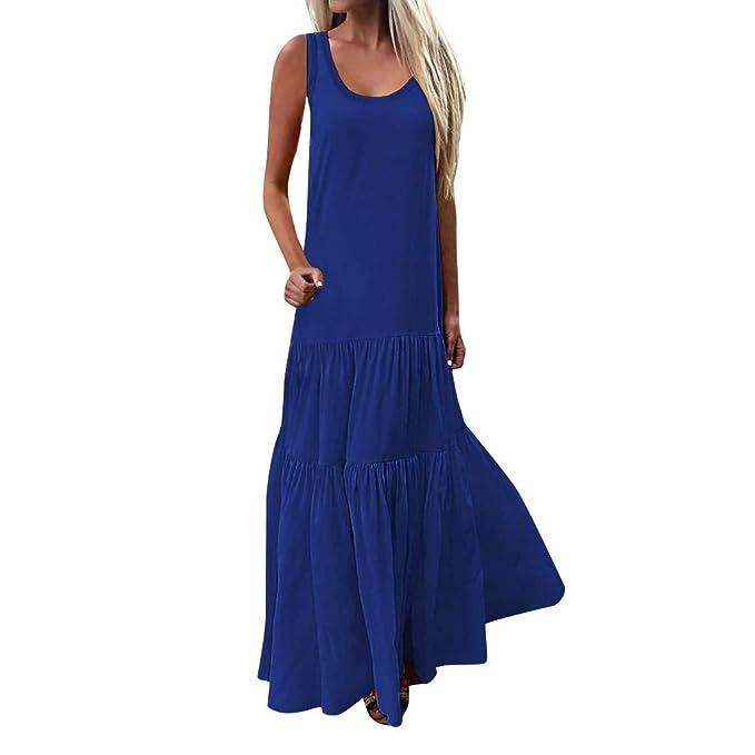 f2c906e88a586 VRTUR Donne Elegante Abito da Cerimonia Sera Lungo Schienale Fascia Vestito  Senza Maniche Estivo Casual Floreale Fiori Fantasia Dress  Amazon.it  ...