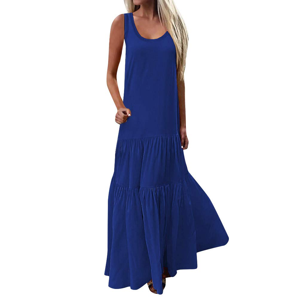 Kirbyates Women Bohemian Casual Sleeveless Low Cut Ruffles Solid Casual Baggy Swing Long Dress Blue