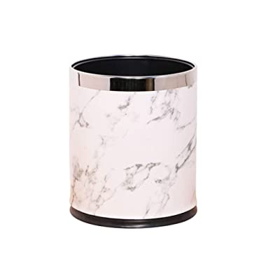 HARRA HOME Open Top Marble Design Round Small Trash Can Wastebasket Garbage Container Bin for Bathroom, Home Office, Bedroom, Powder Room, Kitchen, Durable Trashcan Basket (Silver)