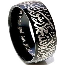 Jude Jewelers 8mm Black Stainless Steel Islamic Mulslim Shahada Ring