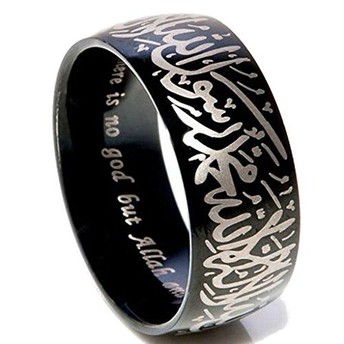 (Jude Jewelers 8mm Black Stainless Steel Islamic Mulslim Shahada Ring (11))