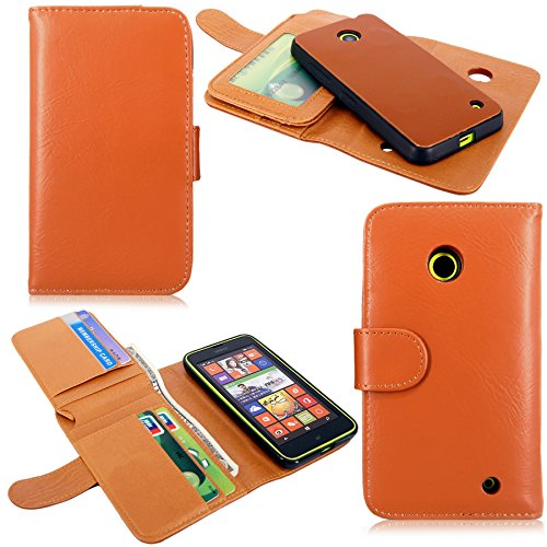 Nokia Lumia Case - Cellularvilla Pu Leather Flip Wallet Pocket Card Slots Case and Detachable Hard Soft Back Cover Pouch for Nokia Lumia 635 (Brown) (Nokia Cases 635)
