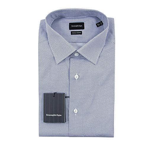 Ermenegildo Zegna Blue Trofeo Cotton MOP Geometric Semi-Spread Dress Shirt 42EU/16.5US