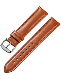 21mm Genuine Calfskin Leather Watch Band Padded Soft Replacement Strap Steel Spring Bar Buckle