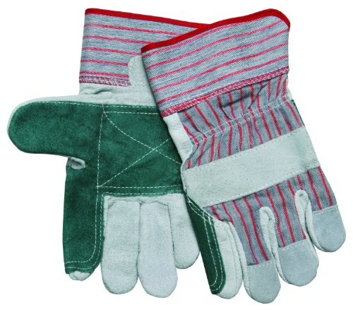 MCR Safety 1211XL Economy Shoulder Split Cow Double Leather Palm Men's Gloves with 2-1/2-Inch Rubberized Safety Cuffs, Green/Gray, X-Large, (Economy Shoulder Split Work Gloves)