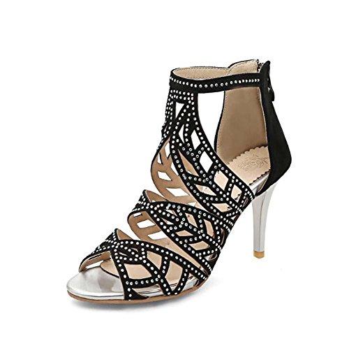 Onfly Frau Spitze Peep Toe High Heels Sandalen Hohl Knöchelriemen Reißverschluss Stilett Schuhe römisch Sandalen Große Größe 33-43 Black