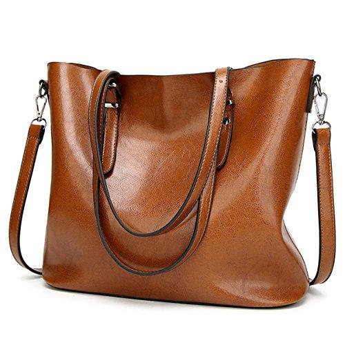 YALUXE Women's Soft Leather Work Handbag Shoulder Bag (Upgraded 2.0) Brown