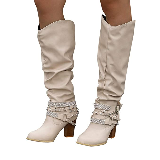 ❤ Botas de Moda de Tubo Alto para Mujer, Botines de Moda Zapatos de tacón Alto Remaches Brillantes Retro Zapatos Bootie Botas largas Absolute: Amazon.es: ...
