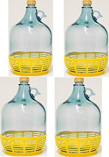 4 pieza 5L Cristal Globo con plástico cesta Vino Globo gärballon Botella de cristal entrega gratuita