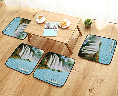 - Printsonne Home Chair Set Grand Waterfall with Swans in The Lake Sunny Nature Machine-Washable W21.5 x L21.5/4PCS Set