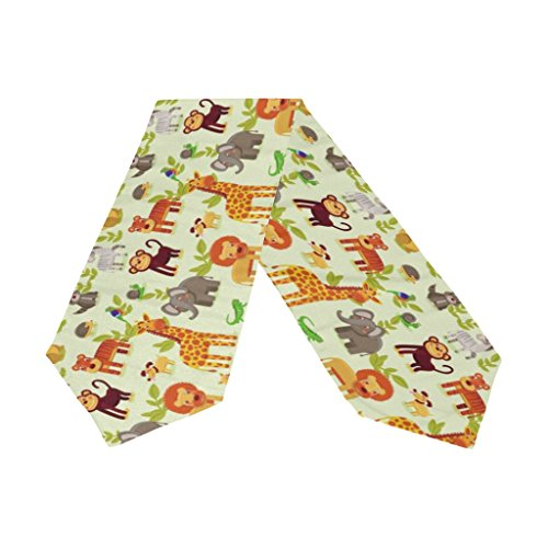 Naanle Double-Sided Animals Elephant Giraffe Lion Tiger Monkey Polyester Table Runner / Bed Runner 13 x 70 Inches Long Home Table Top Decoration Party Supplies