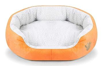 Wakerda Deluxe - Cesta de Cama para Perro con Forro Polar Acolchado antisuciedad, 46 x 42 cm, Color Naranja: Amazon.es: Productos para mascotas