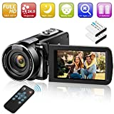 Video Camera Camcorder Digital YouTube Vlogging Camera Recorder GOXMGO Full HD 1080P 24.0MP 18X Digital Zoom Camcorder with IR Night Vision and Remote Control (2 Batteries)