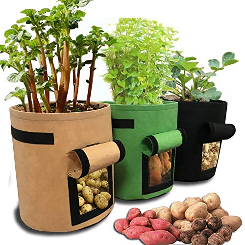 Codream 7 Gallon Flower Plant Grow Bags,Plant Fabric Pots with Handles,Soft-Sided Plant Pots,Durable Fabric Garden Planter Pots with Flap Handle for Potato/Carrot/Onion/,3 Packs