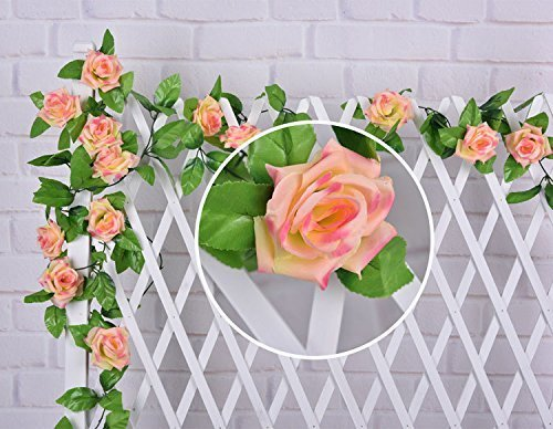 Meiliy 7.8ft Rose Flower Garland Foliage Simulation Silk Flowers for Home Room Hotel Office Garden Wedding Garland Outside Decoration (Orange)