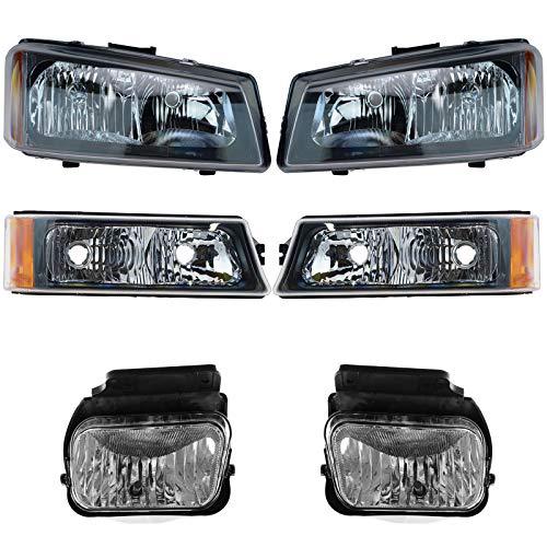 Headlight Parking Fog Driving Light Lamp LH RH Set of 6 for Chevy Silverado