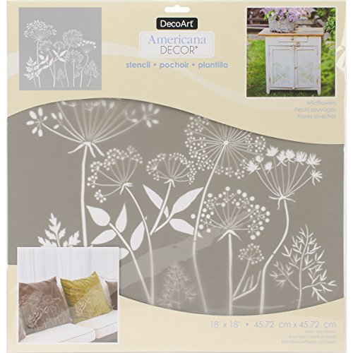 DecoArt DECADS-K.402 Decor Stencil 18x18 Wildflwr Americana Decor Stencil 18x18 Wildflower