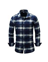Elonglin Men Checkered Shirt Long Sleeve Plaid Shirt Cotton Bussiness Shirt