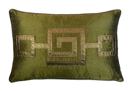 R&M Industries dba Edie Modern Greek Key Decorative Throw Pillow Cover, Olive, 12