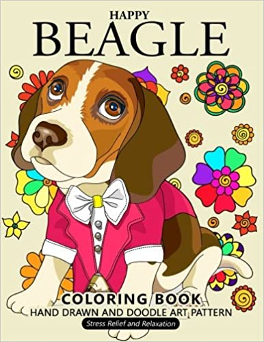 Happy Beagle Coloring Book: Dog coloring book for dog and puppy ...