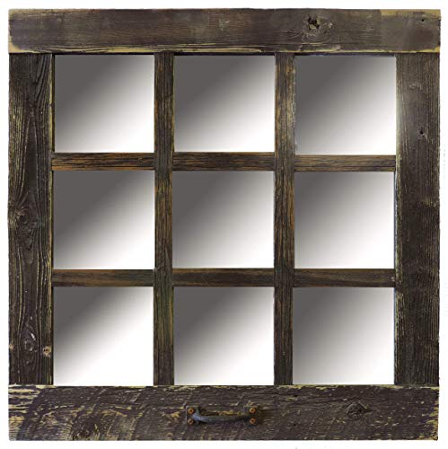 Square Window Style 9 Pane Mirror Frame, 24 x 24 Rustic Reclaimed - Pallet Frame Mirrors Bathroom For