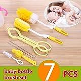 #10: VERISA 7 Pcs Bottle Brush Cleaner Kit Baby Milk Bottle Nipple Straw Brush Sponge Nylon Cleaning Brush Cleaner Bottle Tong Set Yellow