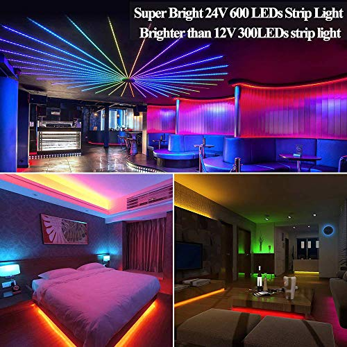 YIPBOWPT Led Strip Light Waterproof 32.8ft RGB SMD 5050 600leds Led Rope Light Color Changing Full Kit with 44 Keys IR Remote Control+24V Power Supply Led Lighting for Kitchen Indoor by YIPBOWPT (Image #3)