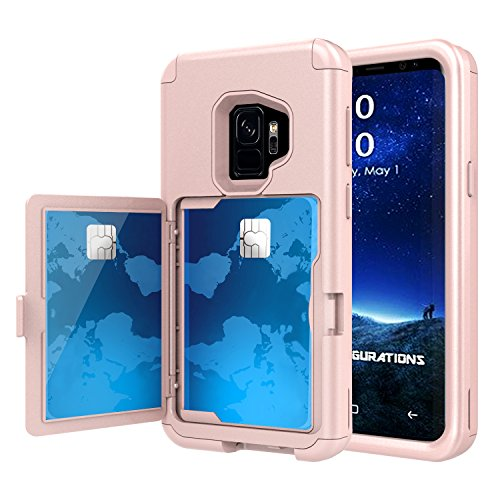 Galaxy S9 Case, Hidden Door Slim Wallet Case, Fits 2 Cards and Cash, Reinforced Drop Bumper Protection, Open Mirror, Front Frame Screen Protection For Samsung Galaxy S9 (2018) - Rose Gold