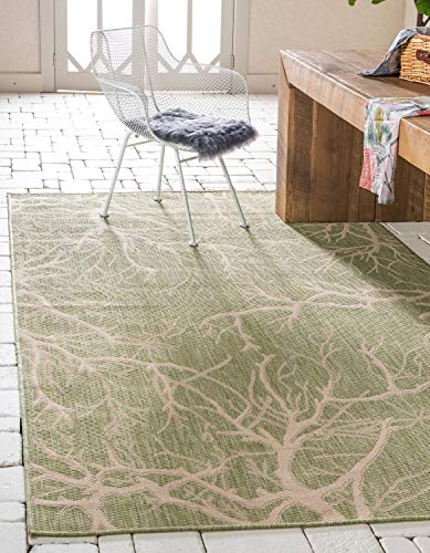 Unique Loom Outdoor Botanical Collection Abstract Pictorial Transitional Indoor and Outdoor Flatweave Light Green  Area Rug (8' 0 x 11' -