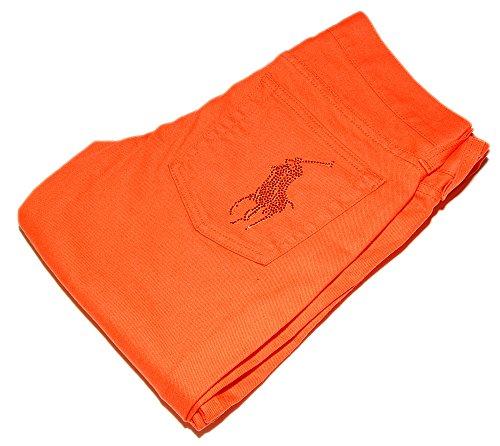 Ralph Lauren Polo Black Label Rhinestone Big Pony Denim Jean Pants Orange USA 29 (Black Ralph Jeans Label Lauren)