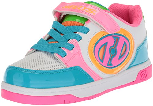 Heelys Girls' Plus X2 Tennis Shoe, White/neon/Multi, 2 M US Little Kid