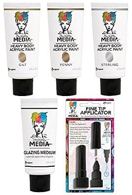 Ranger - Dina Wakley Media - Heavy Body Acrylic Paints - Metallics, Glazing Medium and Fine Tip Applicator Bundle