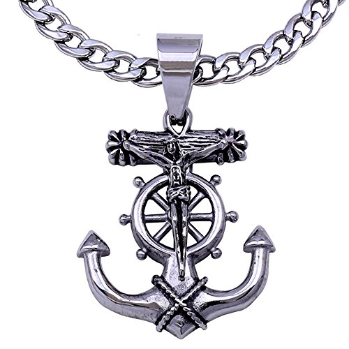 Jesus Cross Anchor (C08S-P37S Men's Stainless Steel Silver Anchor Jesus Cross Cuban Necklace Chain Link (22))