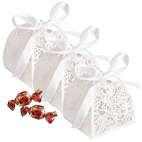 YOZATIA 50pcs Laser Cut Rose Candy Boxes,2''x2''x2.4'' Gift Boxes for Anniverary Party Wedding Favor(White) (Candy White Box)