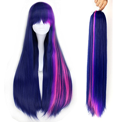 Synthetic Long Fluffy Wavy Purple Hair Adult Kids Cosplay Costume Wig Halloween with Claw Ponytail ()