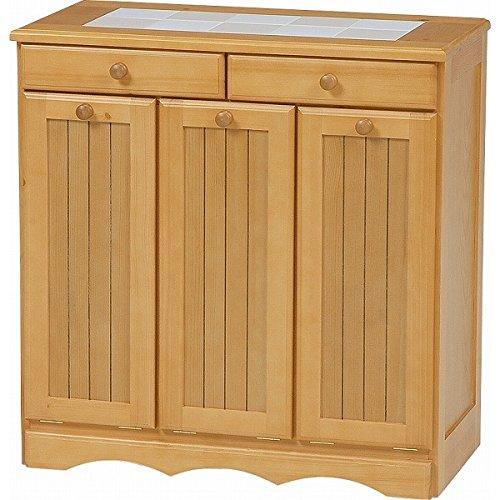 ゴミ箱隠してスッキリキッチン 3分別 ダストボックス付き キッチンカウンター (ナチュラル) / おしゃれ タイル天板 木製 B07C39Y9RB ナチュラル ナチュラル